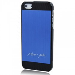 Coque Alu - iPhone 5 - Steve Jobs signature - Bleu