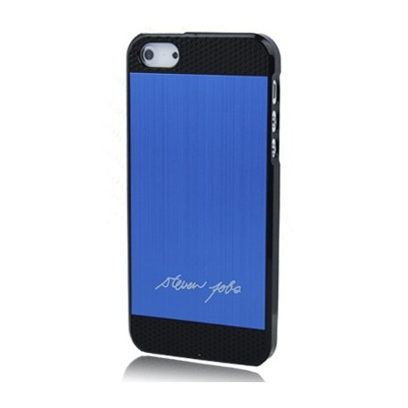 Coque Alu - iPhone 5 - Steve Jobs signature - Bleu