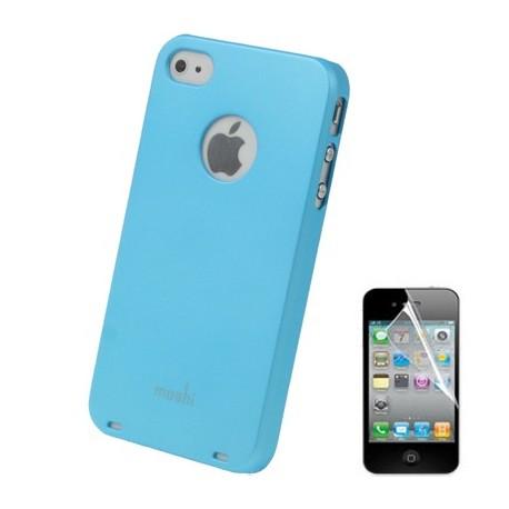 Coque Moshi - iPhone 4/4S - BLEU CIEL 1film OFFERT