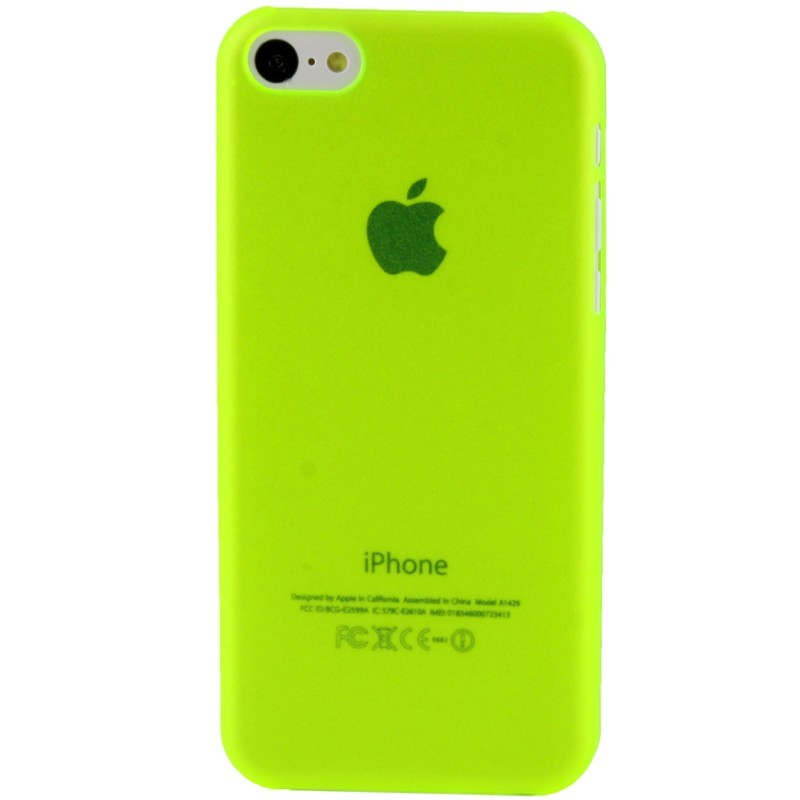 coque ultra fine iphone 5c jaune fluo